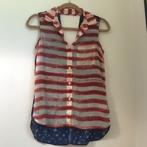 Jessica Simpson American Flag Button Down Tank